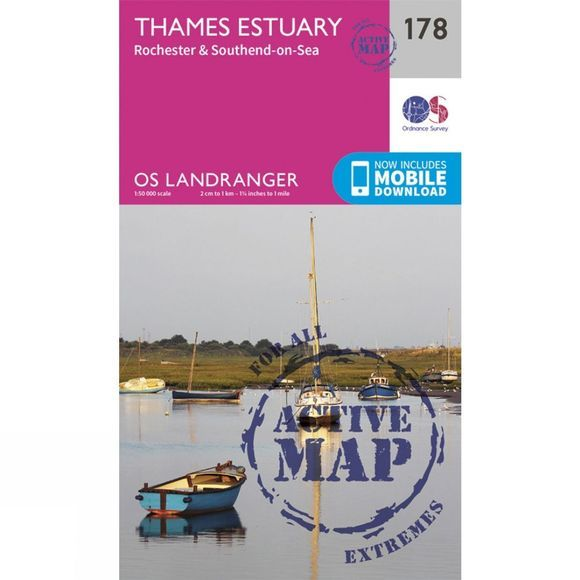 Ordnance Survey Active Landranger Map 178 Thames Estuary V16
