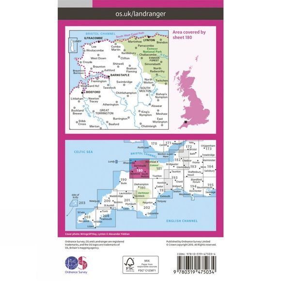 Ordnance Survey Active Landranger Map 180 Barnstaple and Ilfracombe V16