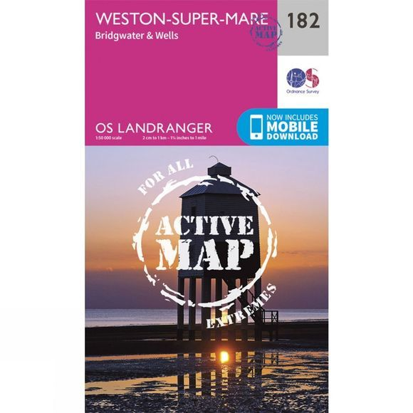Ordnance Survey Active Landranger Map 182 Weston-super-Mare V16