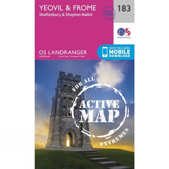Ordnance Survey Active Landranger Map 183 Yeovil and Frome V16
