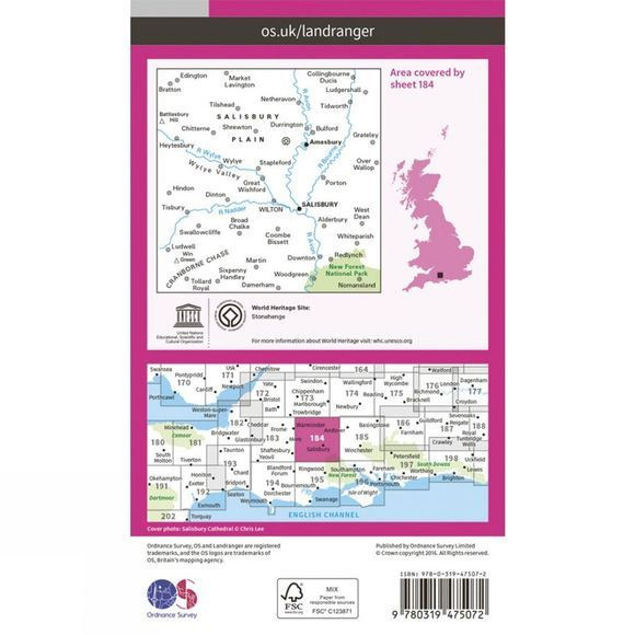Ordnance Survey Active Landranger Map 184 Salisbury and The Plain V16