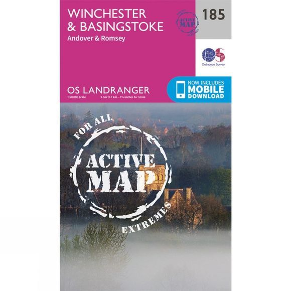 Ordnance Survey Active Landranger Map 185 Winchester and Basingstoke V16