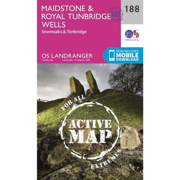 Ordnance Survey Active Landranger Map 188 Maidstone and Royal Tunbridge Wells V16