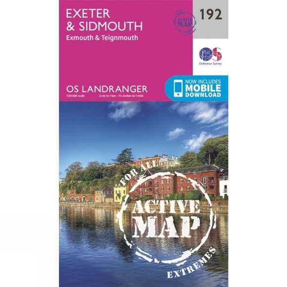 Ordnance Survey Active Landranger Map 192 Exeter and Sidmouth V16