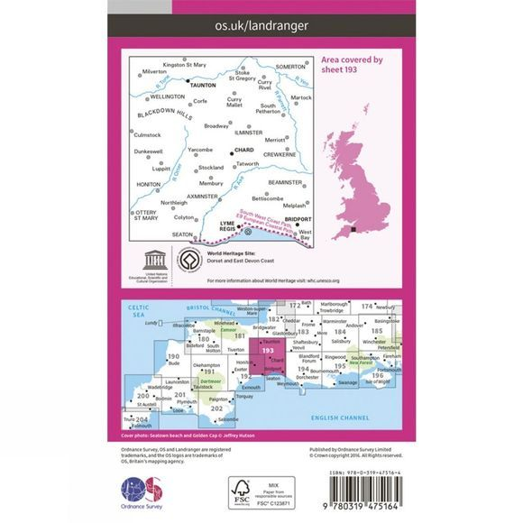 Ordnance Survey Active Landranger Map 193 Taunton and Lyme Regis V16