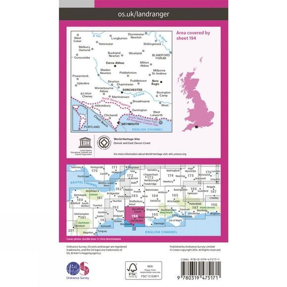 Ordnance Survey Active Landranger Map 194 Dorchester and Weymouth V16