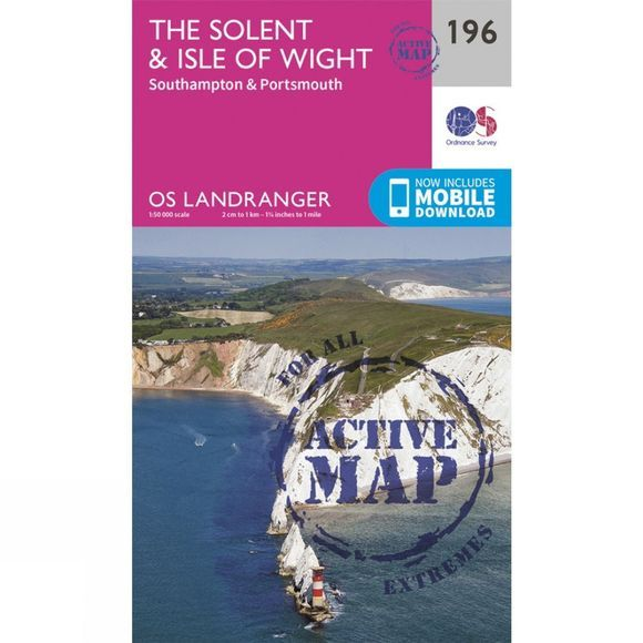 Ordnance Survey Active Landranger Map 196 The Solent and Isle of Wight V16