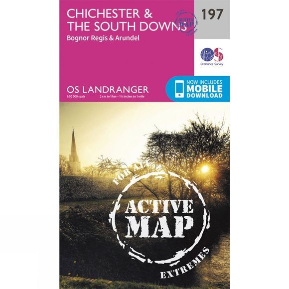 Active Landranger Map 197 Chichester and The South Downs