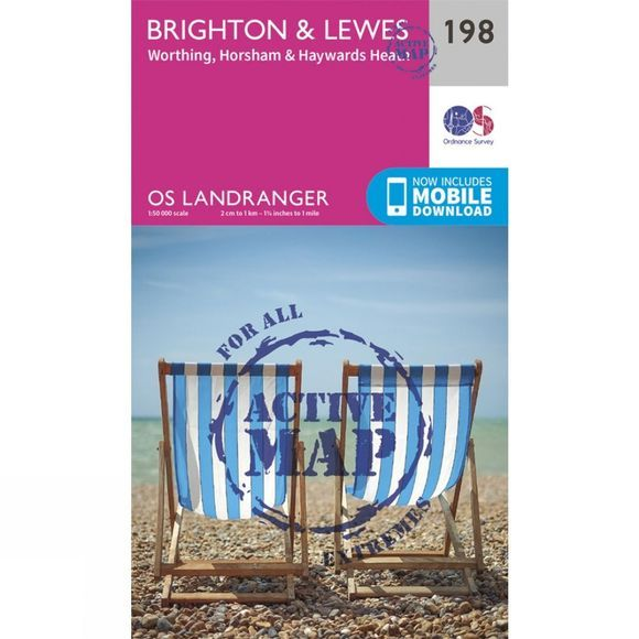 Ordnance Survey Active Landranger Map 198 Brighton and Lewes V16