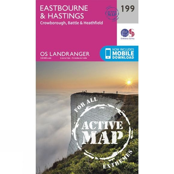 Ordnance Survey Active Landranger Map 199 Eastbourne and Hastings V16