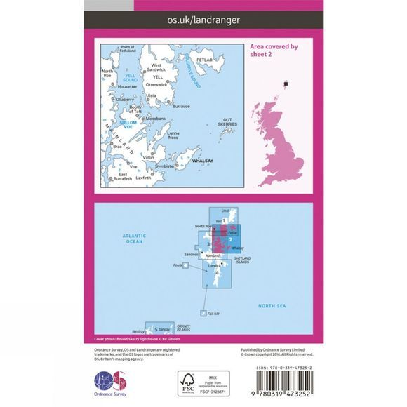 Active Landranger Map 02 Shetland - Sullom Voe and Whalsay