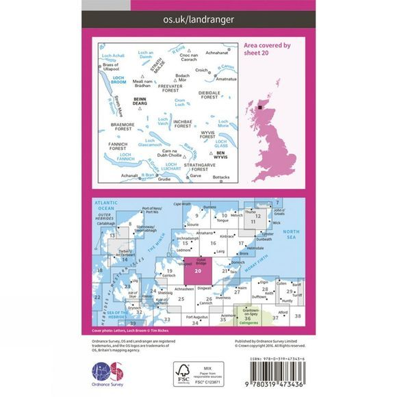 Active Landranger Map 20 Beinn Dearg and Loch Broom