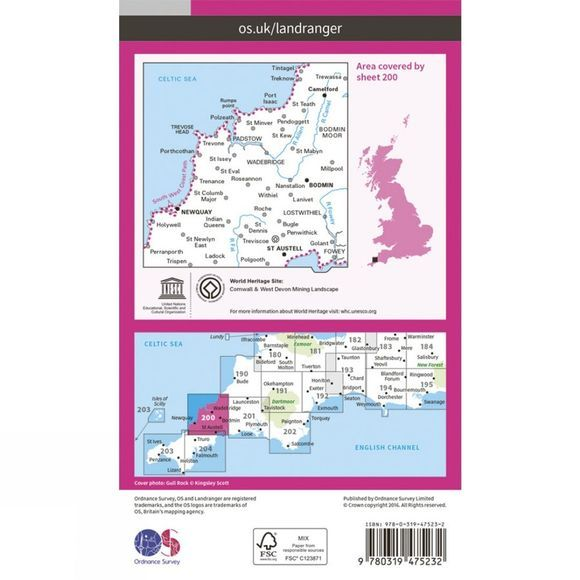 Ordnance Survey Active Landranger Map 200 Newquay and Bodmin V16