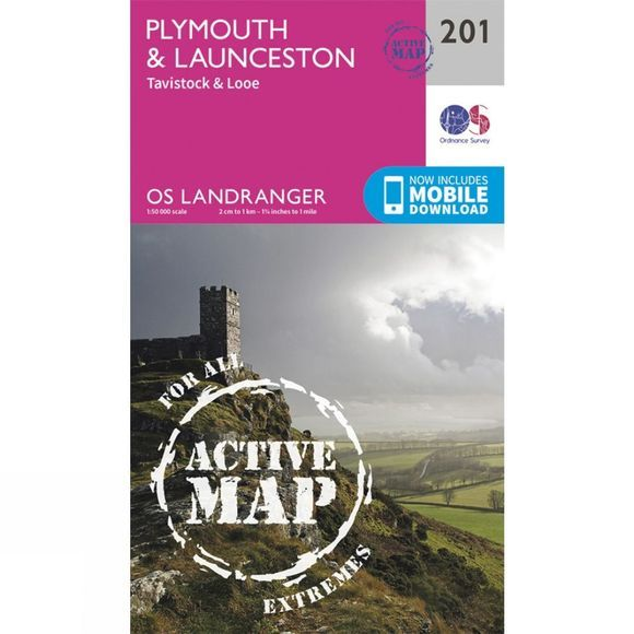 Active Landranger Map 201 Plymouth and Launceston