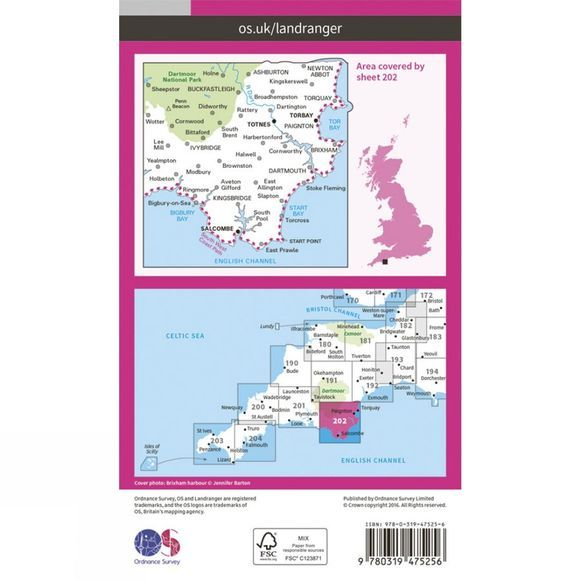 Active Landranger Map 202 Torbay and South Dartmoor