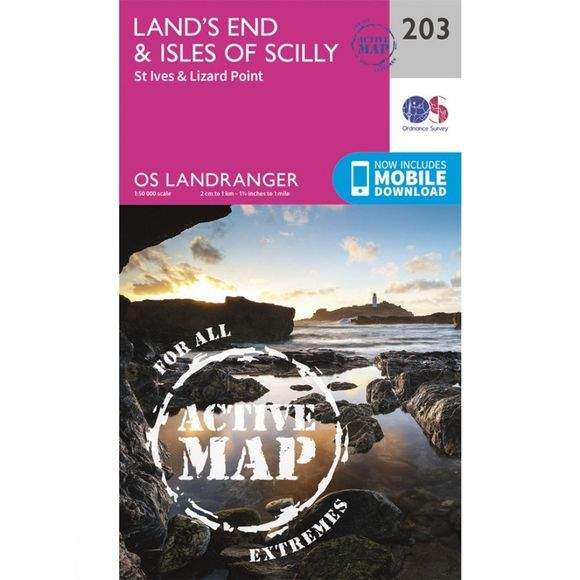 Active Landranger Map 203 Land's End and Isles of Scilly
