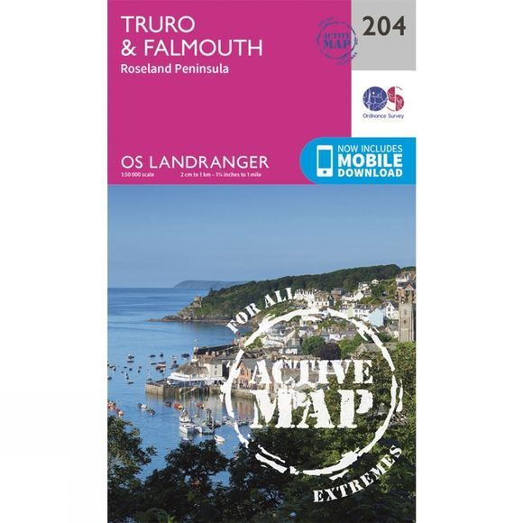 Active Landranger Map 204 Truro and Falmouth