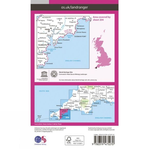 Ordnance Survey Active Landranger Map 204 Truro and Falmouth V16