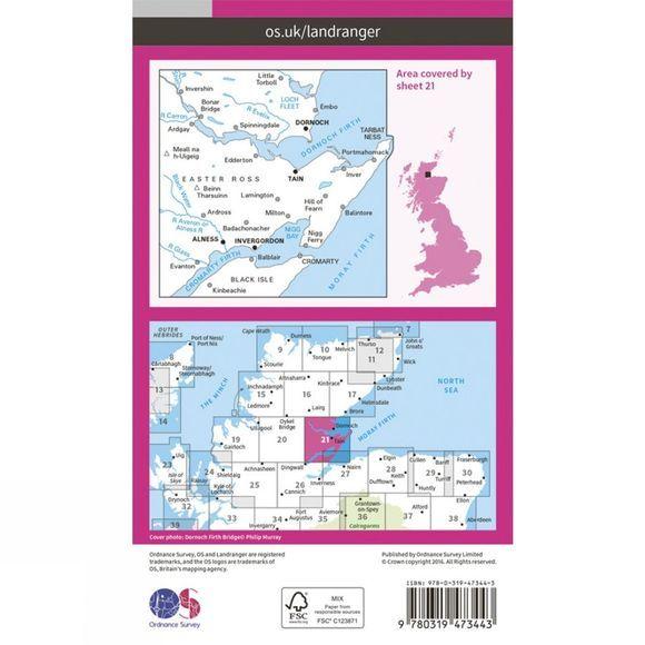 Active Landranger Map 21 Dornoch and Alness