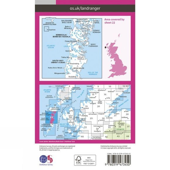 Active Landranger Map 22 Benbecula and South Uist