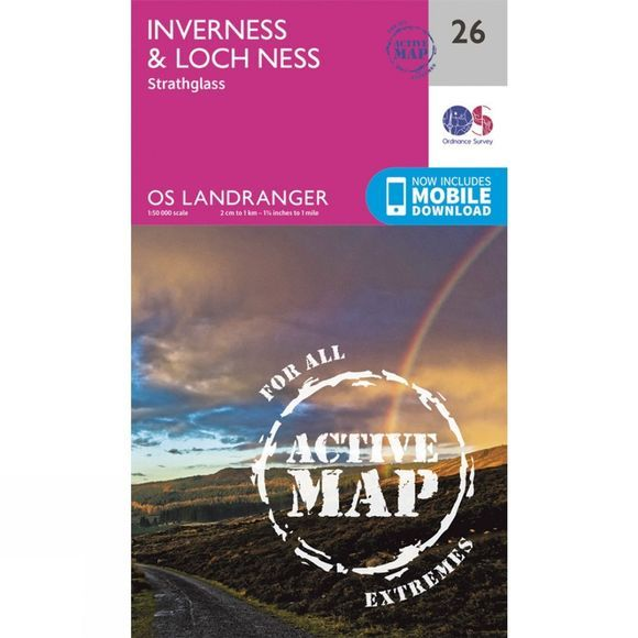 Active Landranger Map 26 Inverness and Loch Ness
