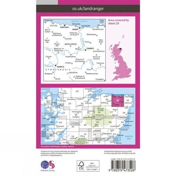 Ordnance Survey Active Landranger Map 29 Banff and Huntly V16