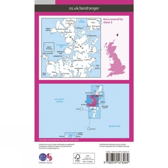 Active Landranger Map 03 Shetland - North Mainland