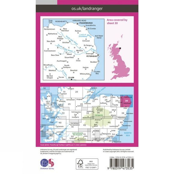 Ordnance Survey Active Landranger Map 30 Fraserburgh V16