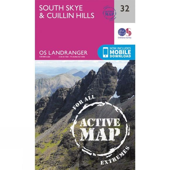 Ordnance Survey Active Landranger Map 32 South Skye and Cuillin Hills V16