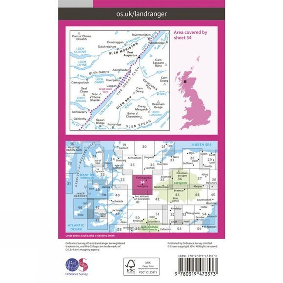 Active Landranger Map 34 Fort Augustus