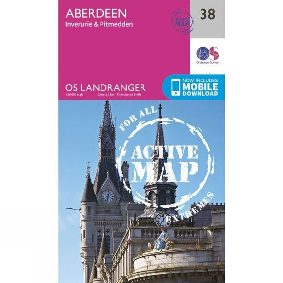 Ordnance Survey Active Landranger Map 38 Aberdeen V16