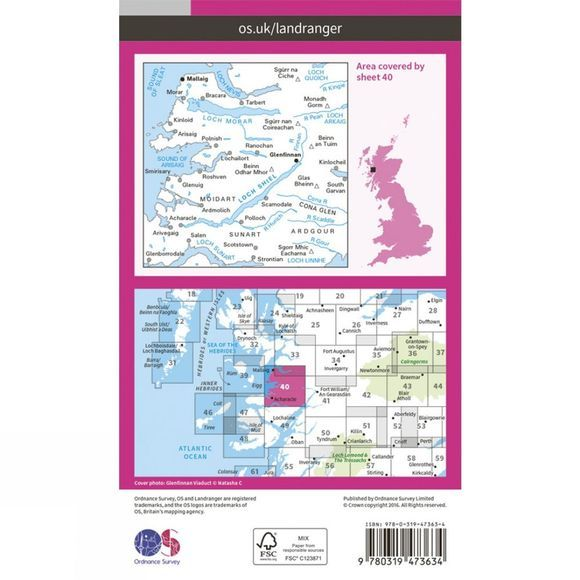 Ordnance Survey Active Landranger Map 40 Mallaig and Glenfinnan V16