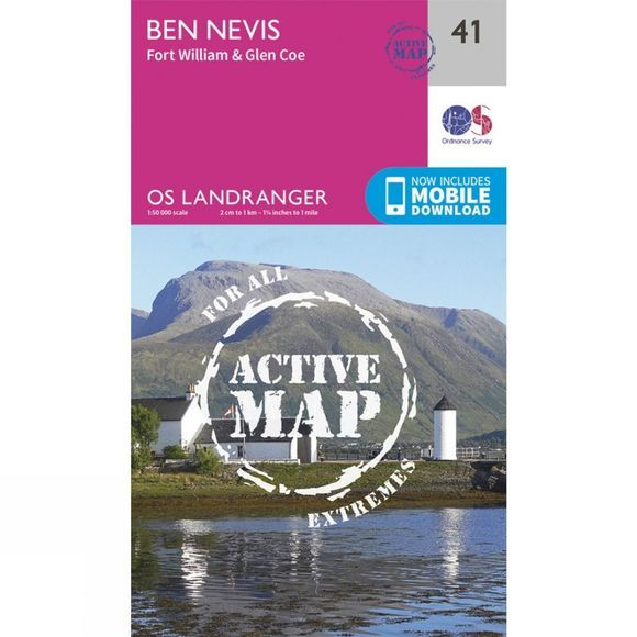 Ordnance Survey Active Landranger Map 41 Ben Nevis, Fort William and Glen Coe V16