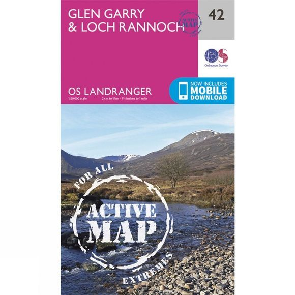 Ordnance Survey Active Landranger Map 42 Glen Garry and Loch Rannoch V16