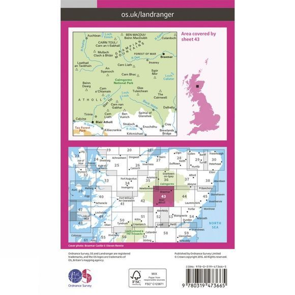 Active Landranger Map 43 Braemar and Blair Atholl