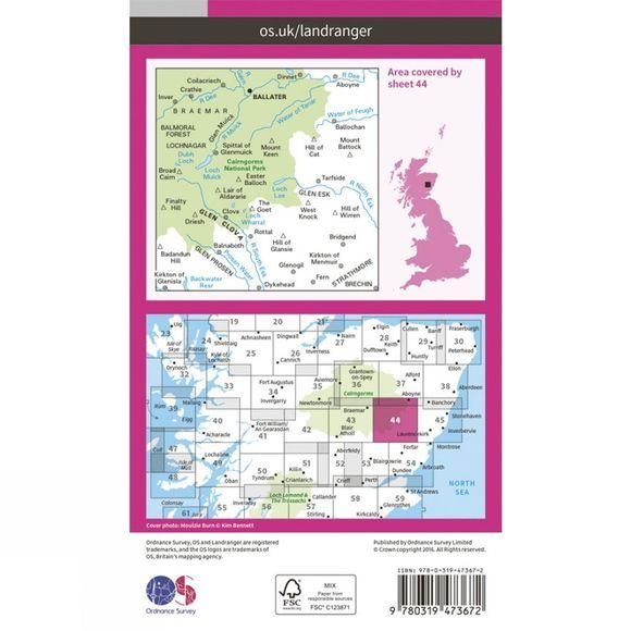 Ordnance Survey Active Landranger Map 44 Ballater and Glen Clova V16
