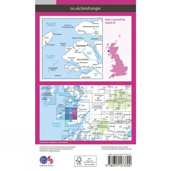 Ordnance Survey Active Landranger Map 47 Tobermory and North Mull V16