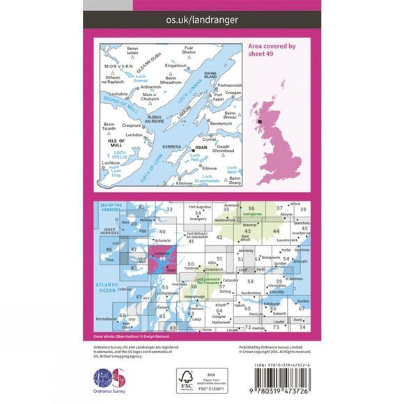 Ordnance Survey Active Landranger Map 49 Oban and East Mull V16
