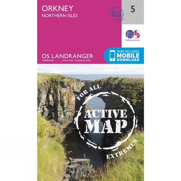 Ordnance Survey Active Landranger Map 05 Orkney - Northern Isles V16