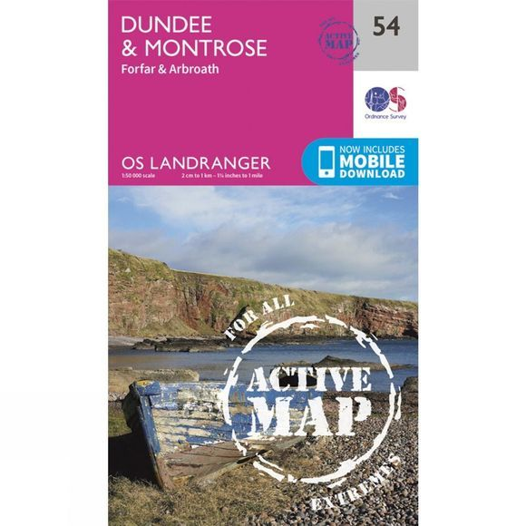 Ordnance Survey Active Landranger Map 54 Dundee and Montrose V16