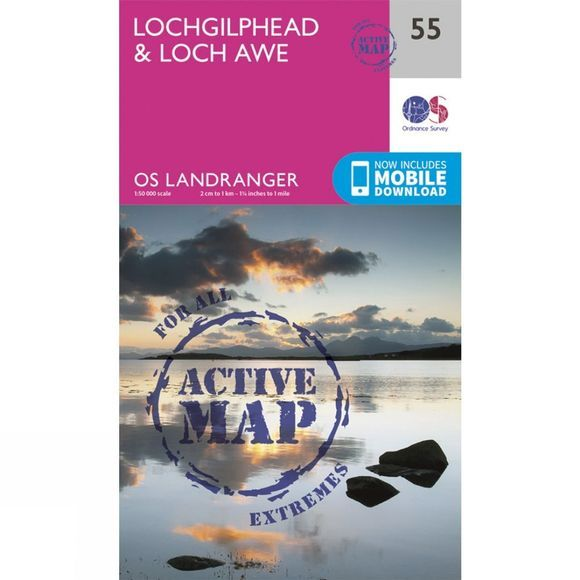 Active Landranger Map 55 Lochgilphead and Loch Awe
