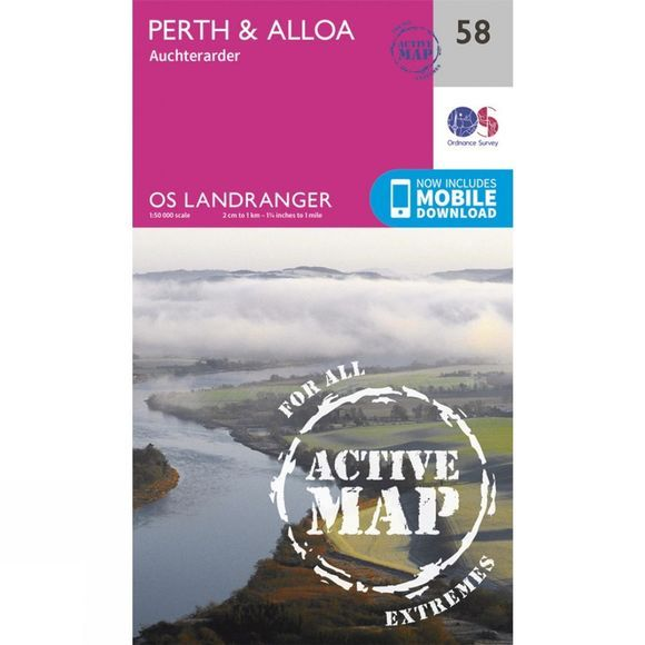 Ordnance Survey Active Landranger Map 58 Perth and Alloa V16