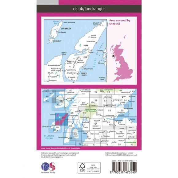 Ordnance Survey Active Landranger Map 61 Jura and Colonsay V16