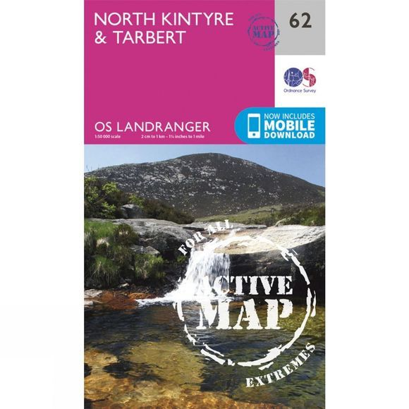 Ordnance Survey Active Landranger Map 62 North Kintyre and Tarbert V16