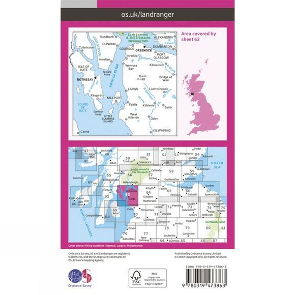 Active Landranger Map 63 Firth of Clyde