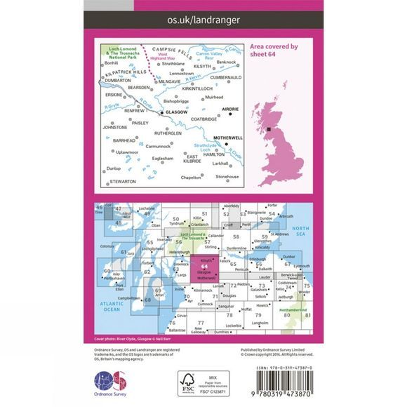 Ordnance Survey Active Landranger Map 64 Glasgow V16