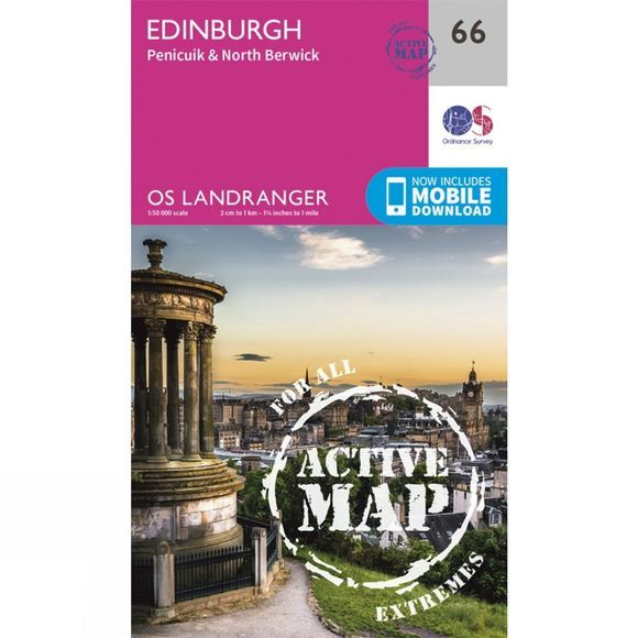 Ordnance Survey Active Landranger Map 66 Edinburgh V16