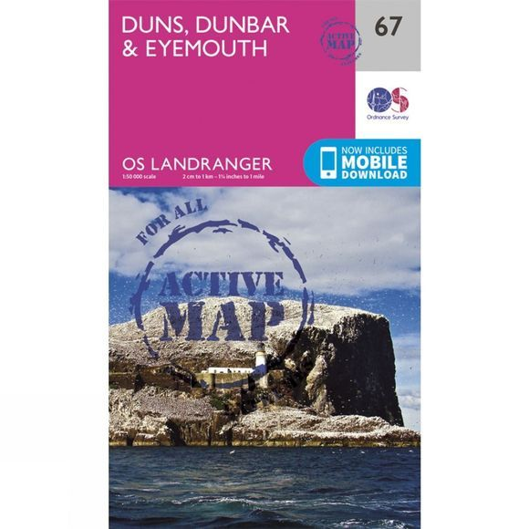 Active Landranger Map 67 Duns, Dunbar and Eyemouth