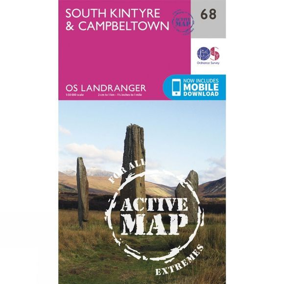 Ordnance Survey Active Landranger Map 68 South Kintyre and Campbeltown V16