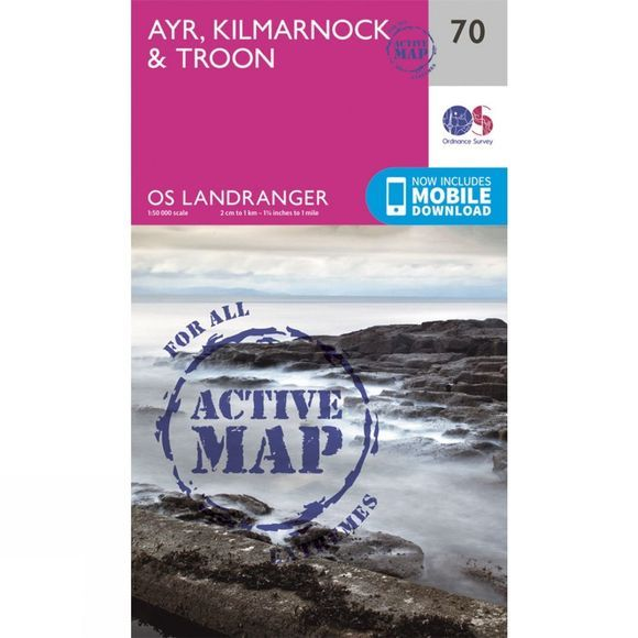 Ordnance Survey Active Landranger Map 70 Ayr, Kilmarnock and Troon V16